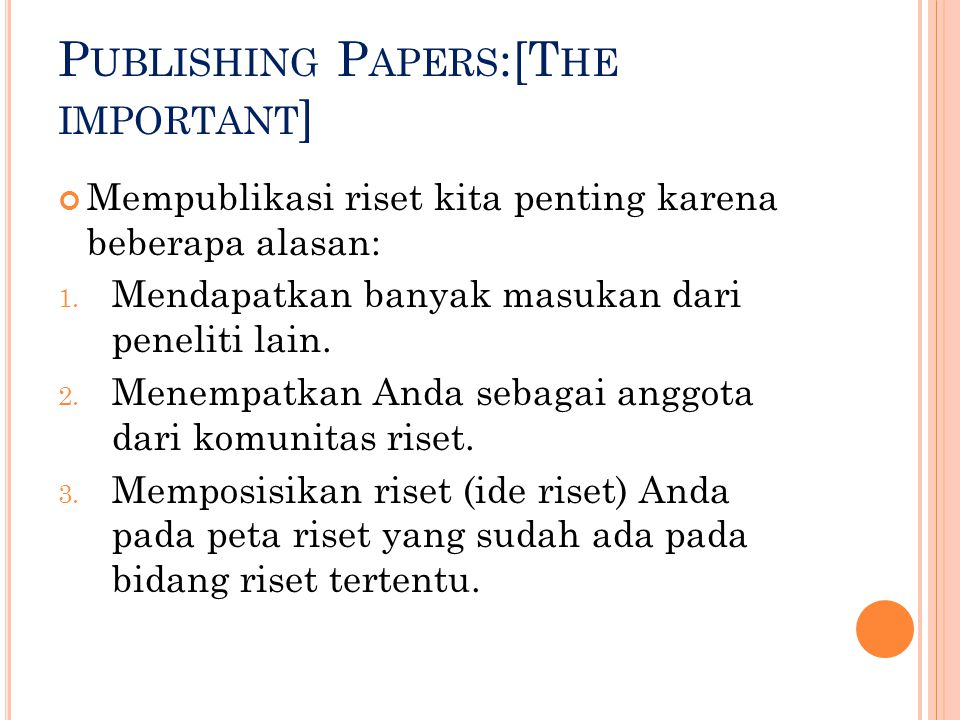 Publishing Papers:[The important]